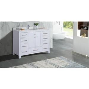 GEF Willow Vanity Set with Medicine Cabinet, Quartz Top, White