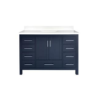 GEF Willow Vanity with Quartz Top, 48-in Royal Blue
