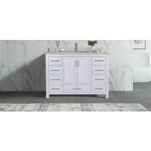 GEF Willow Vanity Set with Mirror, Solid Surface Top, 48-in White