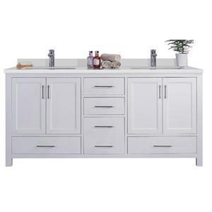 GEF Willow Vanity Set with 2 Mirrors, Quartz Top, 72-in White