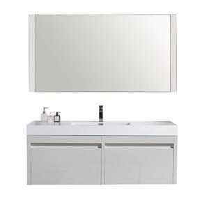 GEF Selena Vanity Set with Mirror, Single sink 60-in White