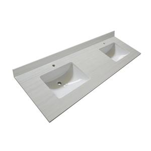 GEF Brielle Vanity with Solid Surface Top, 60-in Dark Walnut