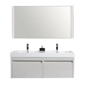 GEF Selena Vanity Set with Mirror, Double sink  60-in White