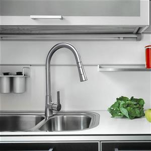 "Dyconn Faucet Danube Kitchen Faucet - 16.1"" - Brushed Nickel"