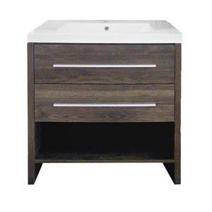 Luxo Marbre Relax Vanity - 2 Drawers -  30.25-in - Wood Veneer - Alamo Oak.