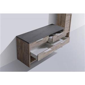 Luxo Marbre Countryside Vanity - 4 Drawers - 60-in - Veneer Wood - Natural.