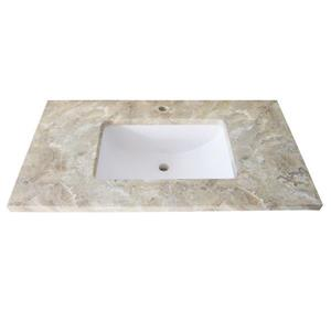 Luxo Marbre Single Sink Vanity Top - 37-in x 22-in - Quartz - Veined Beige.