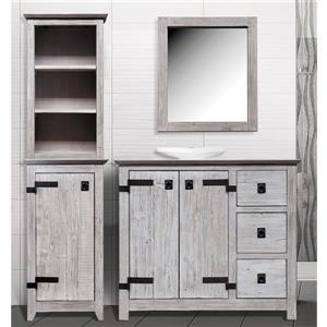 Luxo Marbre 1-Door Side Cabinet and Shelf -19-inx 69-in- Wood - White- 2 pcs.