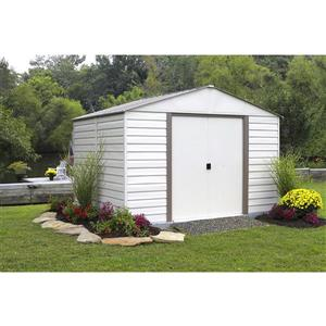 "Arrow Milford® Vinyl Steel Storage Shed - 10' x 12"" - Off-White"