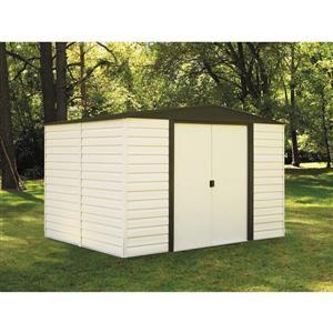 Arrow Dallas® Vinyl Steel Storage Shed - 10' x 8' - Off-White