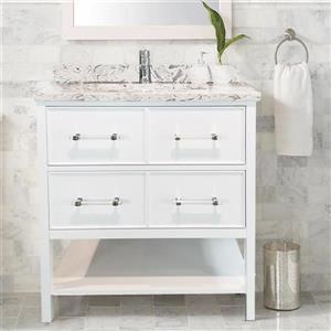 Lukx Bold Gemma Vanity with Quartz Top - 24-in - White