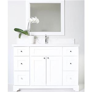 Lukx Bold Damian Vanity with Quartz Top - 48-in - White