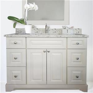 Lukx Bold Damian Vanity with Quartz Top - 54-in - Antique White