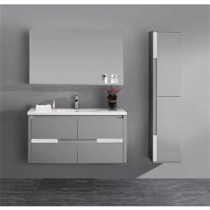 Lukx Modo David Bathroom Vanity - 48-in - Grey/Chrome