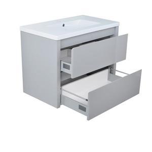 Lukx Modo David Bathroom Vanity - 32-in - Grey/Chrome