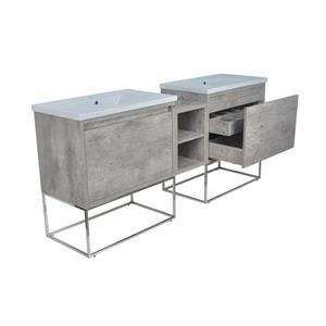 Lukx Modo Casey Double Vanity with LED Lights - 78-in - Chrome