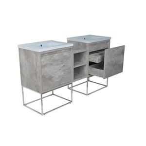 Lukx Modo Casey Double Vanity with LED Lights - 62-in - Chrome