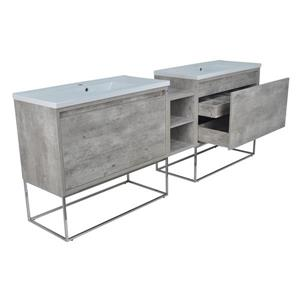 Lukx Modo Casey Double Vanity with LED Lights - 94-in - Chrome