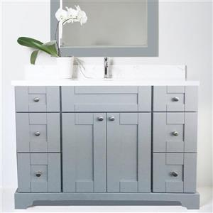 Lukx Bold Damian Vanity with Quartz Top - 48-in - Grey
