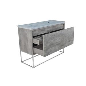 Lukx Modo Casey Double Vanity with LED Lights - 48-in - Chrome