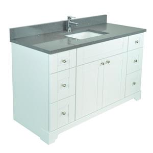Lukx Bold Damian Vanity with Quartz Top - 42-in - White