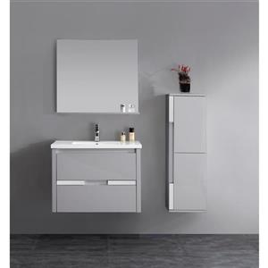 Lukx Modo David Bathroom Linen Cabinet - 14-in - Grey/Chrome