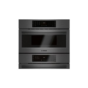 Bosch 800 Series 30-in Self-Cleaning Convection Microwave Wall Oven Combination (Black Stainless Steel)