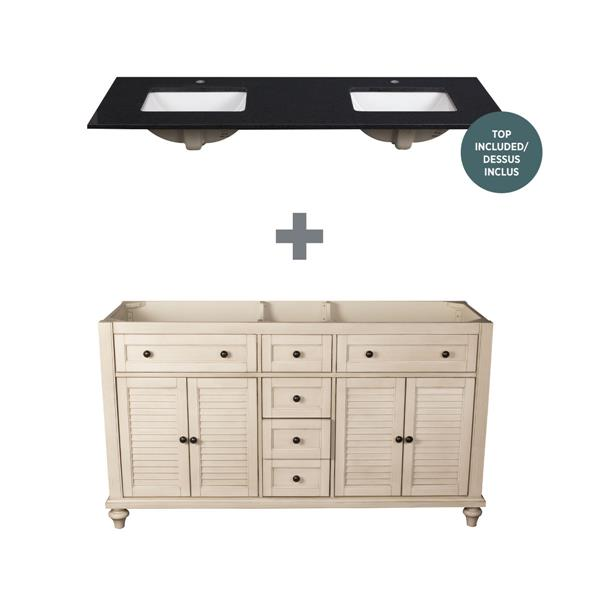 Foremost Fairchild Vanity Combo Antique White And Black Granit Top 61 In Lowe S Canada