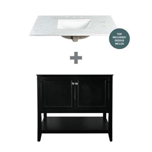 Foremost Auguste Vanity Combo- Black and White Counter Top - 37-in