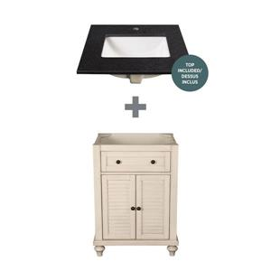 Foremost Fairchild Vanity Combo - Antique White and Black Granite Top - 25-in