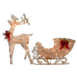 National Tree Co. Reindeer and Santa Sleigh with LED Lights - White