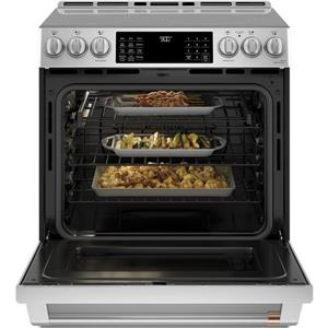 Cafe 30-in Slide-in Front Control Induction and Convection Range with Warming Drawer- Stainless Steal