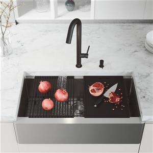 en-CA Oxford Flat Stainless Steel Sink 36-in - Oakhurst Black Faucet - Soap Dispenser