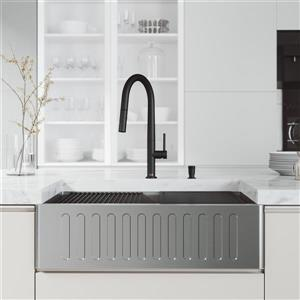 VIGO Oxford Single Kitchen Sink 33-in - Stainless Steel - Black Faucet and Soap Dispenser - Accessories
