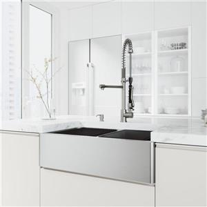 en-CA Oxford Double Flat Stainless Steel Sink 33-in - Zurich Chrome Faucet