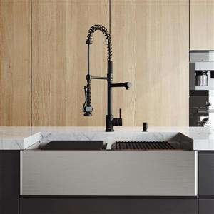 en-CA Oxford Double Stainless Steel Sink 36-in - Zurich Pull-Down Spray Kitchen Faucet - Soap Dispenser