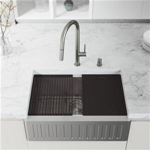 en-CA Oxford Slotted Stainless Steel Kitchen Sink 30-in and Greenwich Faucet