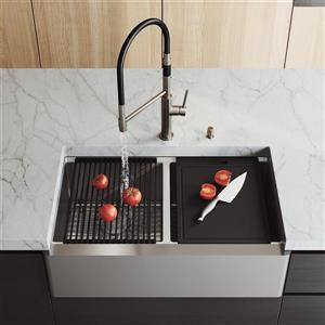 en-CA Oxford Flat Stainless Steel Sink 33-in - Norwood Faucet Black and Chrome - Soap Dispenser