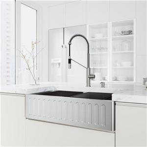 en-CA 36 Oxford Slotted Stainless Steel Sink and Livingston Faucet