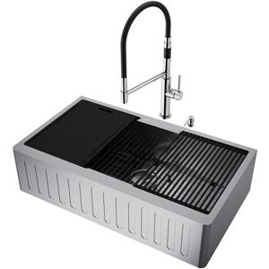 VIGO Oxford Single Kitchen Sink - Stainless Steel - Norwood Faucet and Soap Dispenser - 36-in