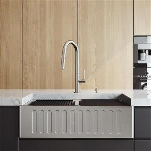 VIGO Oxford Slotted Stainless Steel 33-in Sink - Greenwich Chrome Faucet Extendable Hose - Soap Dispenser