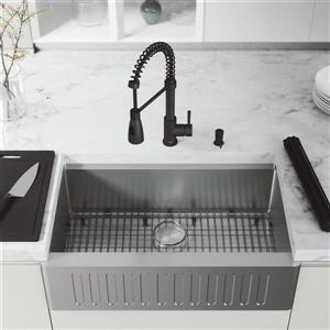 en-CA Oxford Slotted Stainless Steel Sink 33-in - Brant Faucet and Soap Dispenser Black