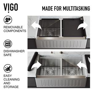 VIGO Oxford Double Bowl Kitchen Sink - Stainless Steel - Edison Kitchen Faucet and Soap Dispenser - 33-in