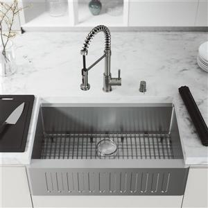 VIGO Oxford Kitchen Sink 33-in with Edison Pull-Down Faucet and Soap Dispenser - Stainless Steel