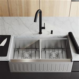 en-CA Oxford Double Slotted Stainless Steel 36-in Sink - Oakhurst Black Faucet - Black Soap Dispenser