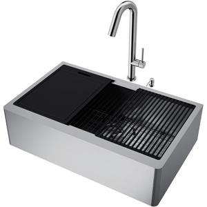 en-CA Oxford Flat Stainless Steel 33-in Sink - Oakhurst Faucet - Soap Dispenser