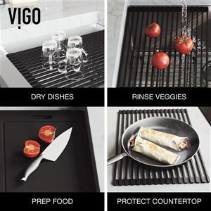 VIGO Oxford Flat Stainless Steel 33-in Sink - Greenwich Black Faucet - Soap Dispenser