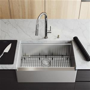 VIGO Oxford Flat Stainless Steel 30-in Sink - Greenwich Chrome Faucet and Soap Dispenser