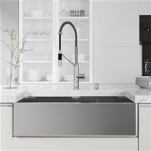 en-CA Oxford Flat Stainless Steel 36-in Sink - Livingston Chrome Faucet - Soap Dispenser