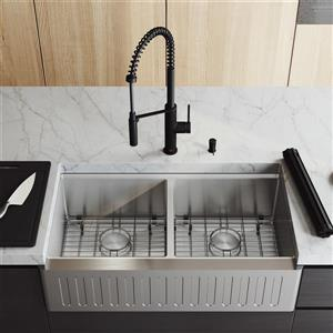 VIGO Oxford Slotted Stainless Steel 36-in Sink - Livingston Black Faucet and Soap Dispenser